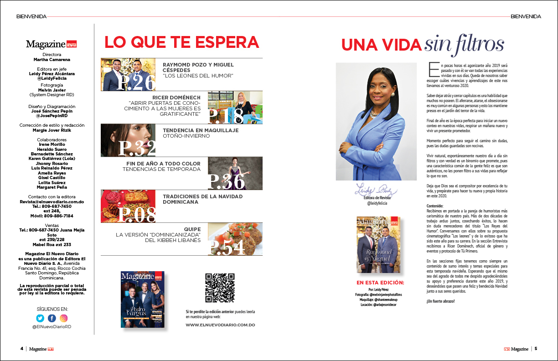 Bienvenida y contenido Magazine El Nuevo Diario Diciembre 2019