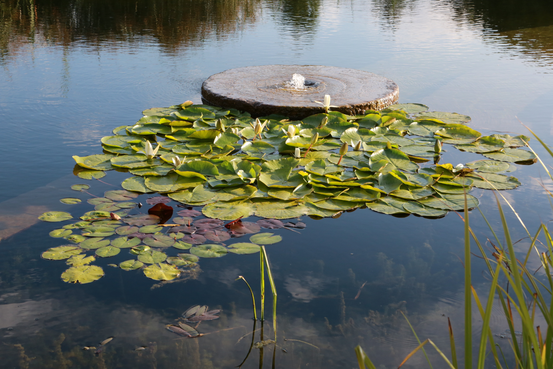 millstone fountain in natural pool