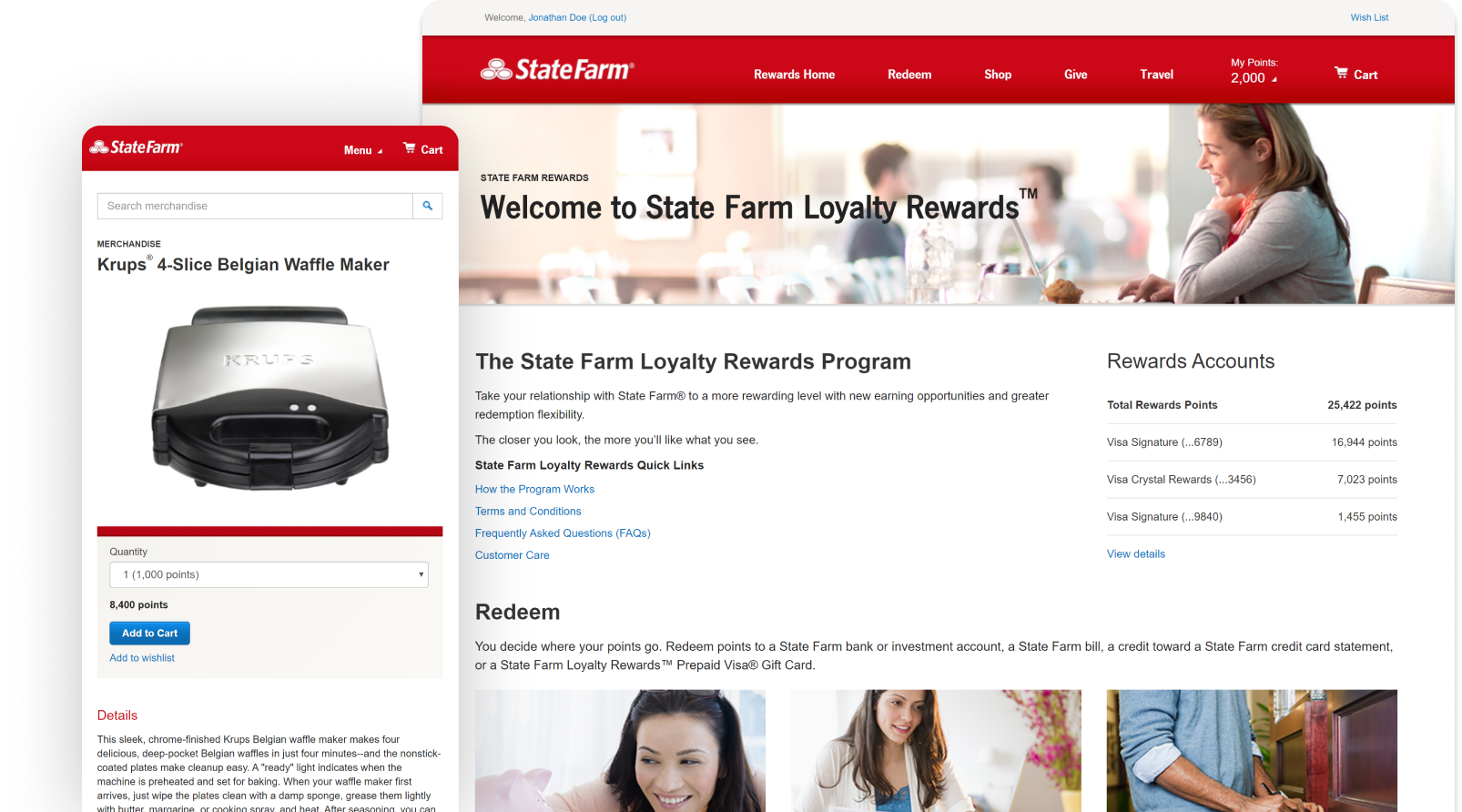 StateFarm Loyalty Rewards  Website Screenshot