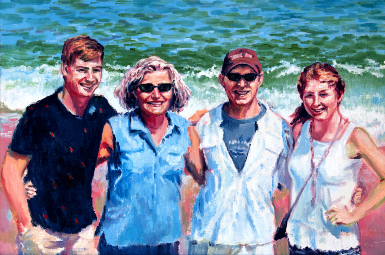 portrait painting of a family