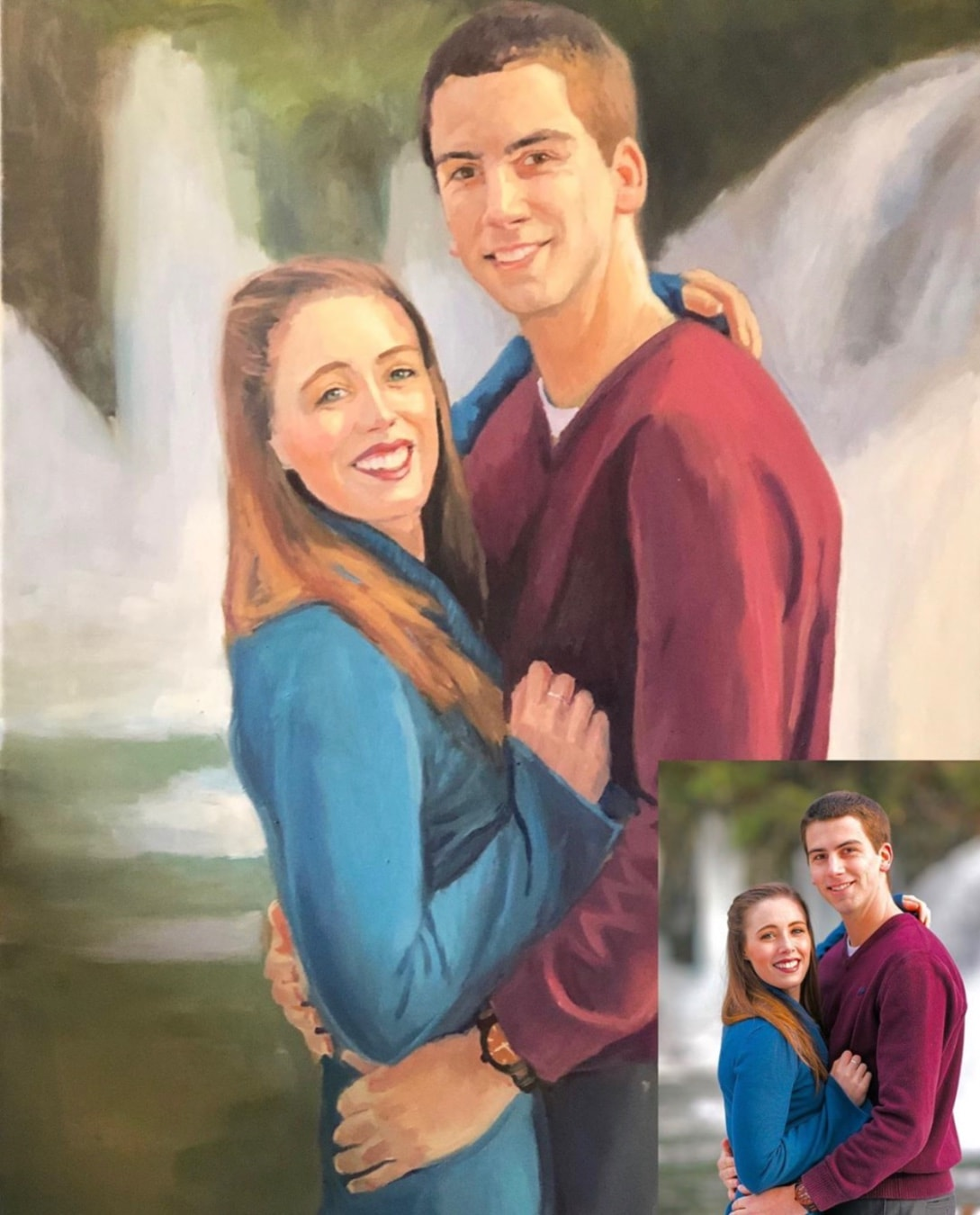 Before and after of a couple painting