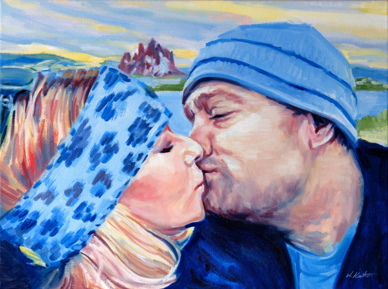 Drawing and painting of a couple kissing