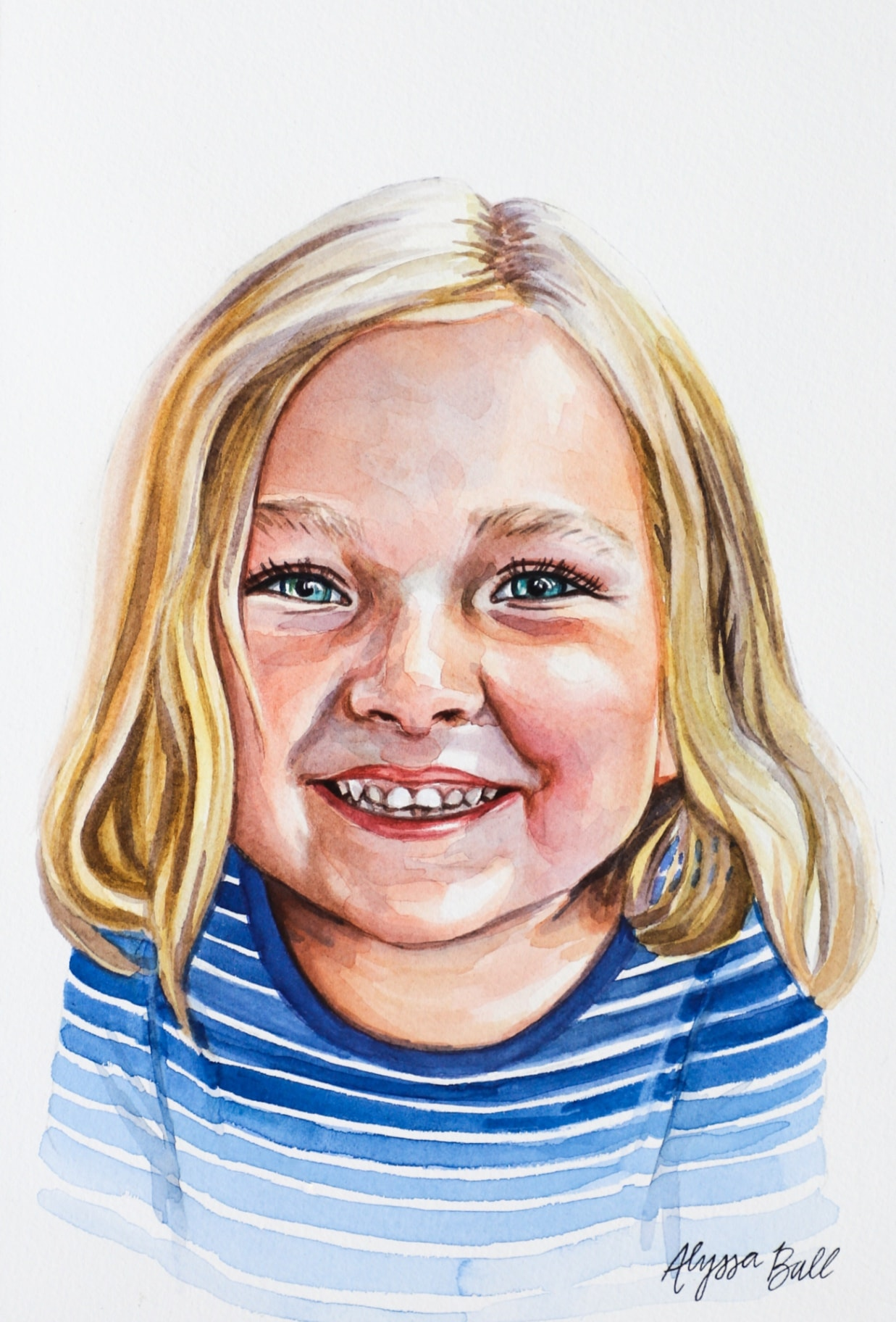 smiling girl drawing portrait painting