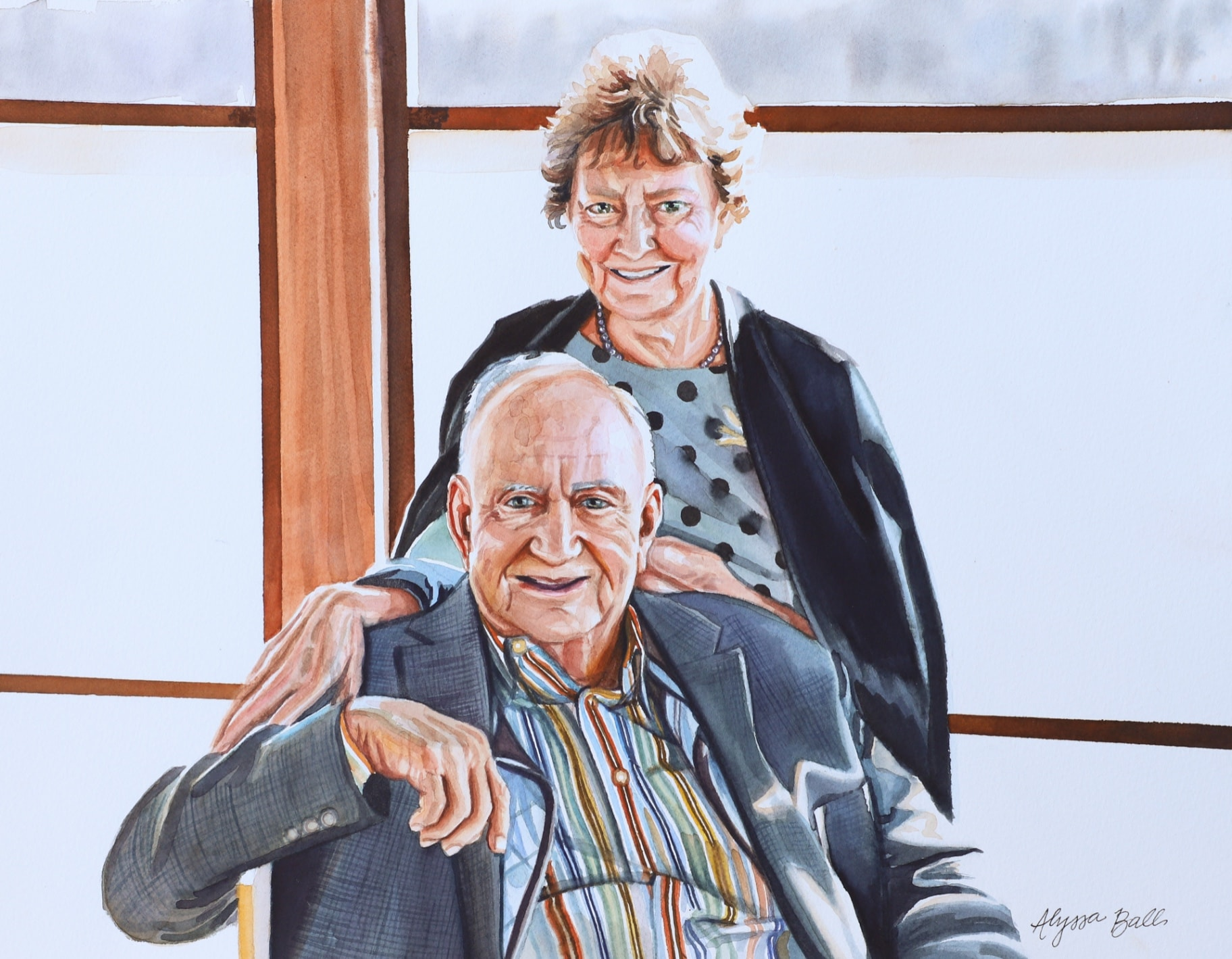 Commissioned artwork of grandparents