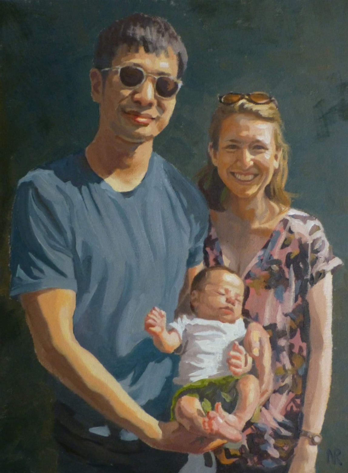 portrait painting of new family