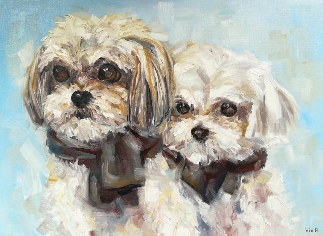 Dog portrait painting from photo