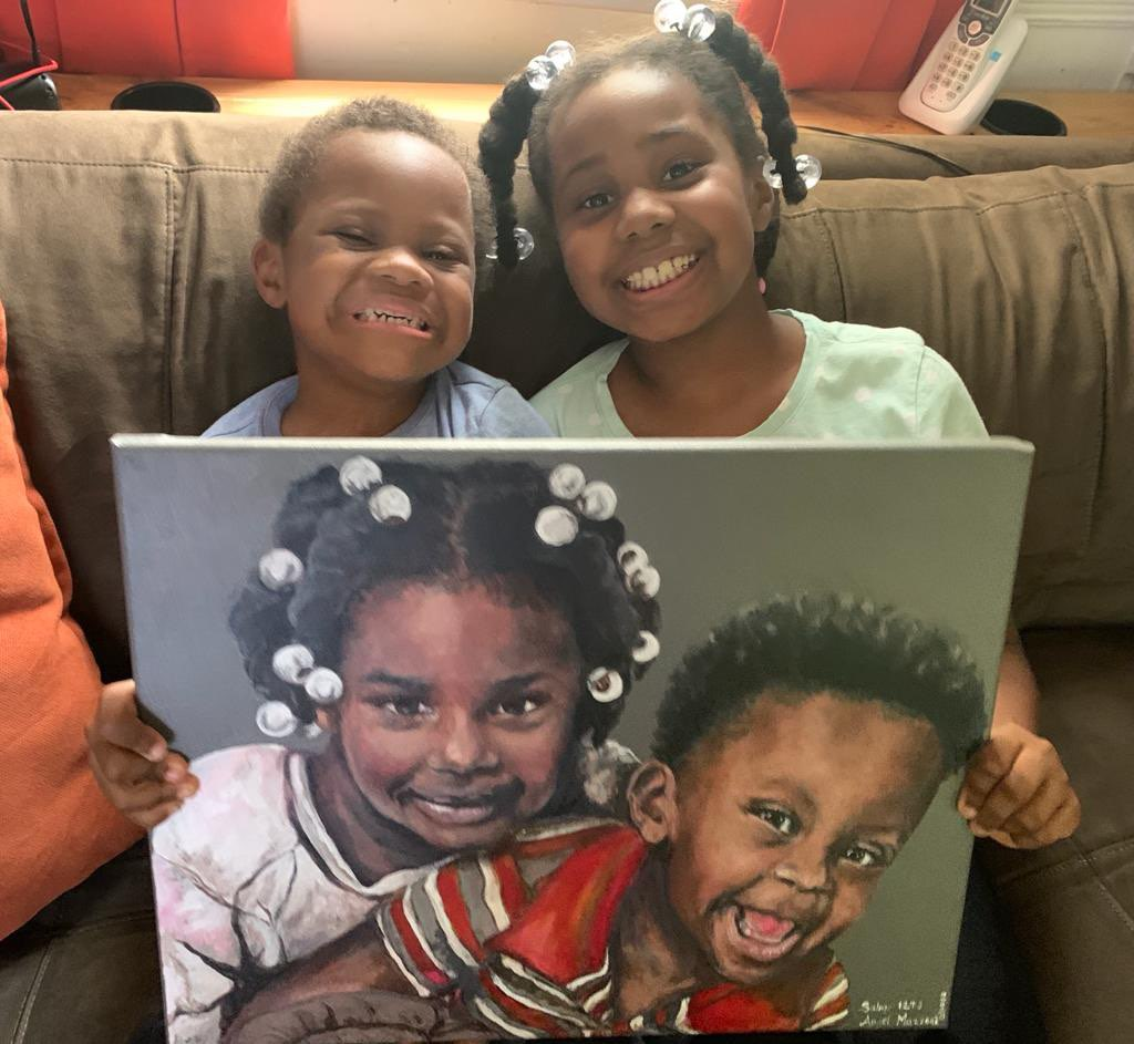Custom painting with smiling reaction