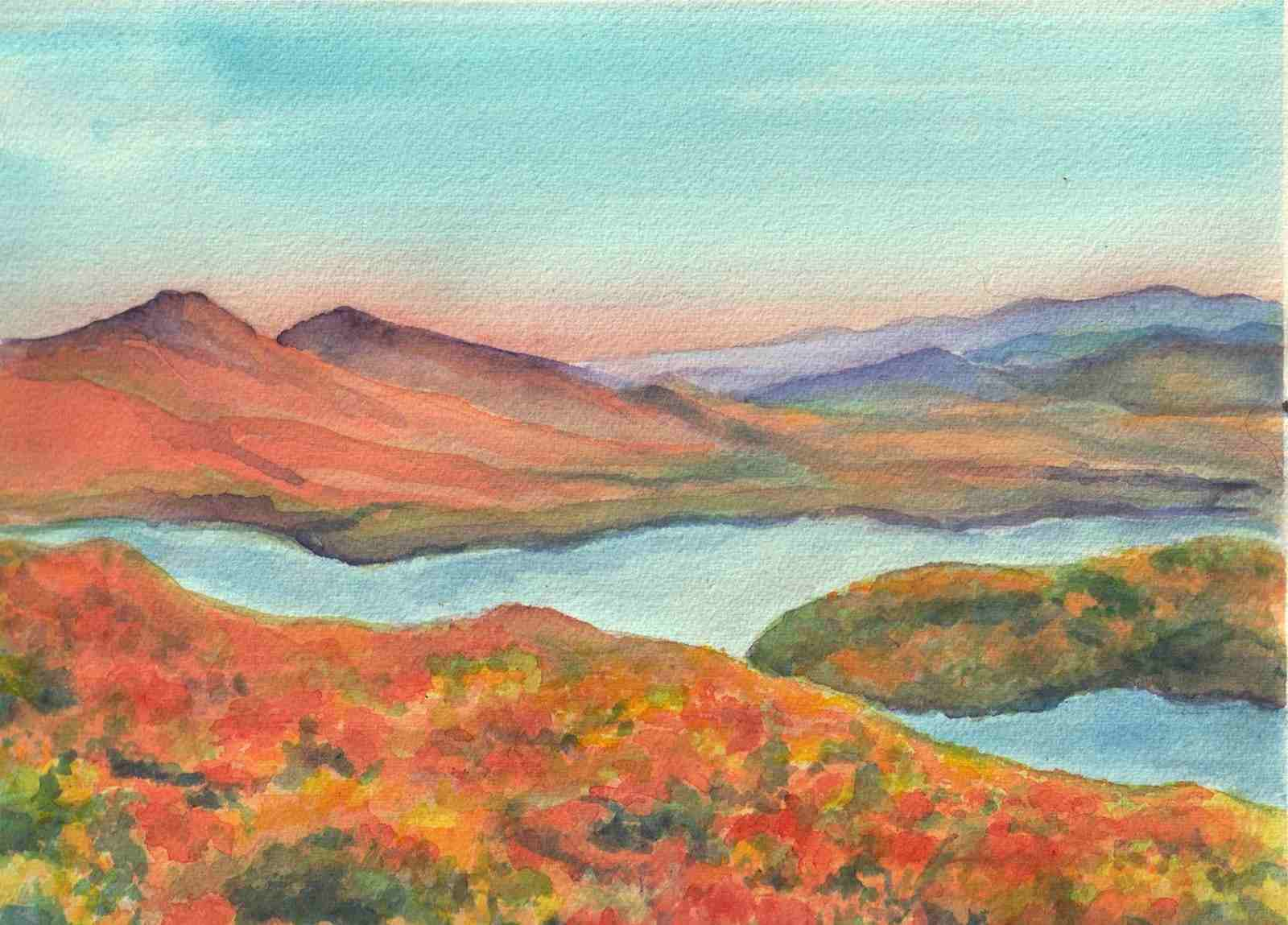 custom landscape from a photo turned into a watercolor painting
