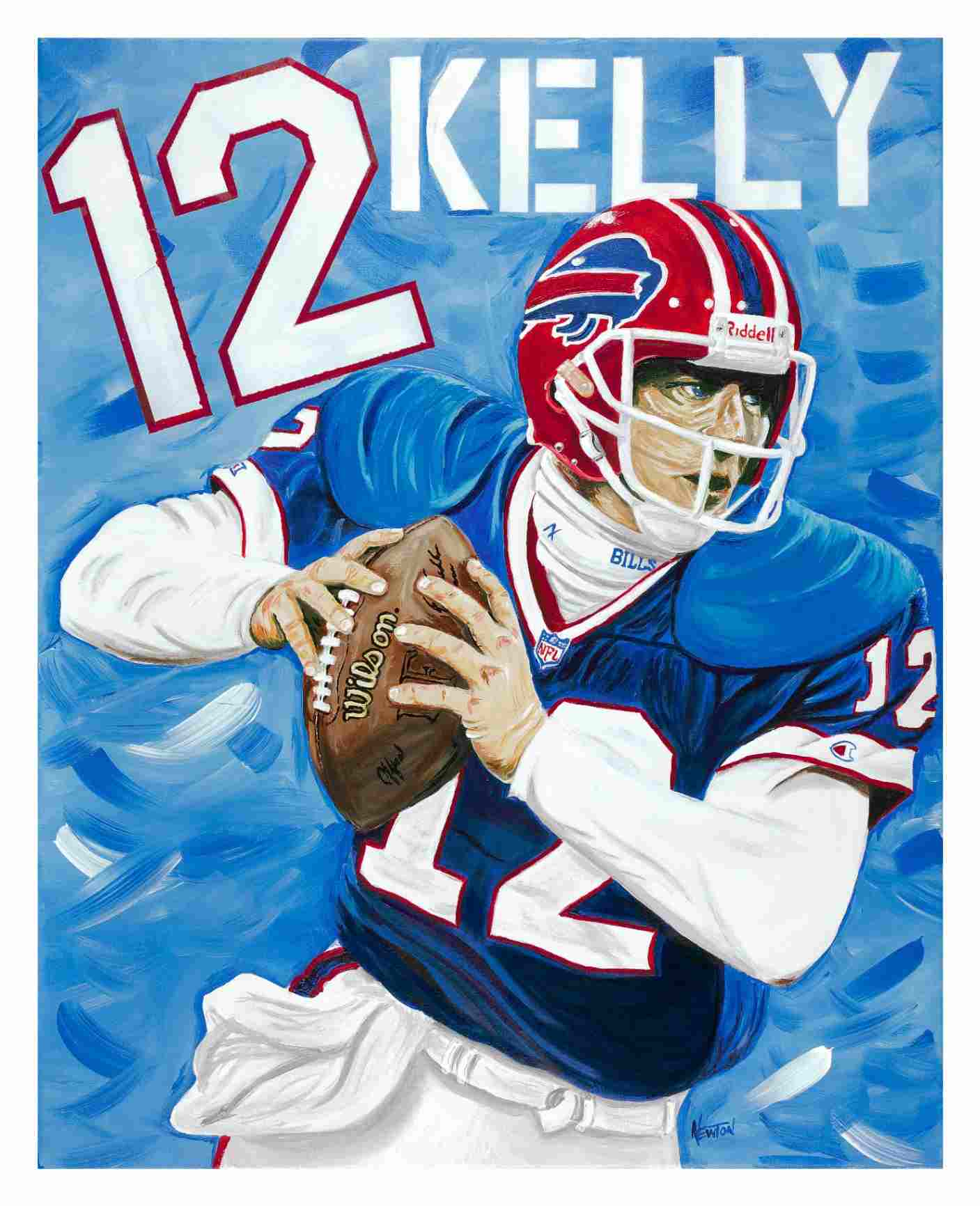 custom portrait painting commission from photo of a sports football player by an artist