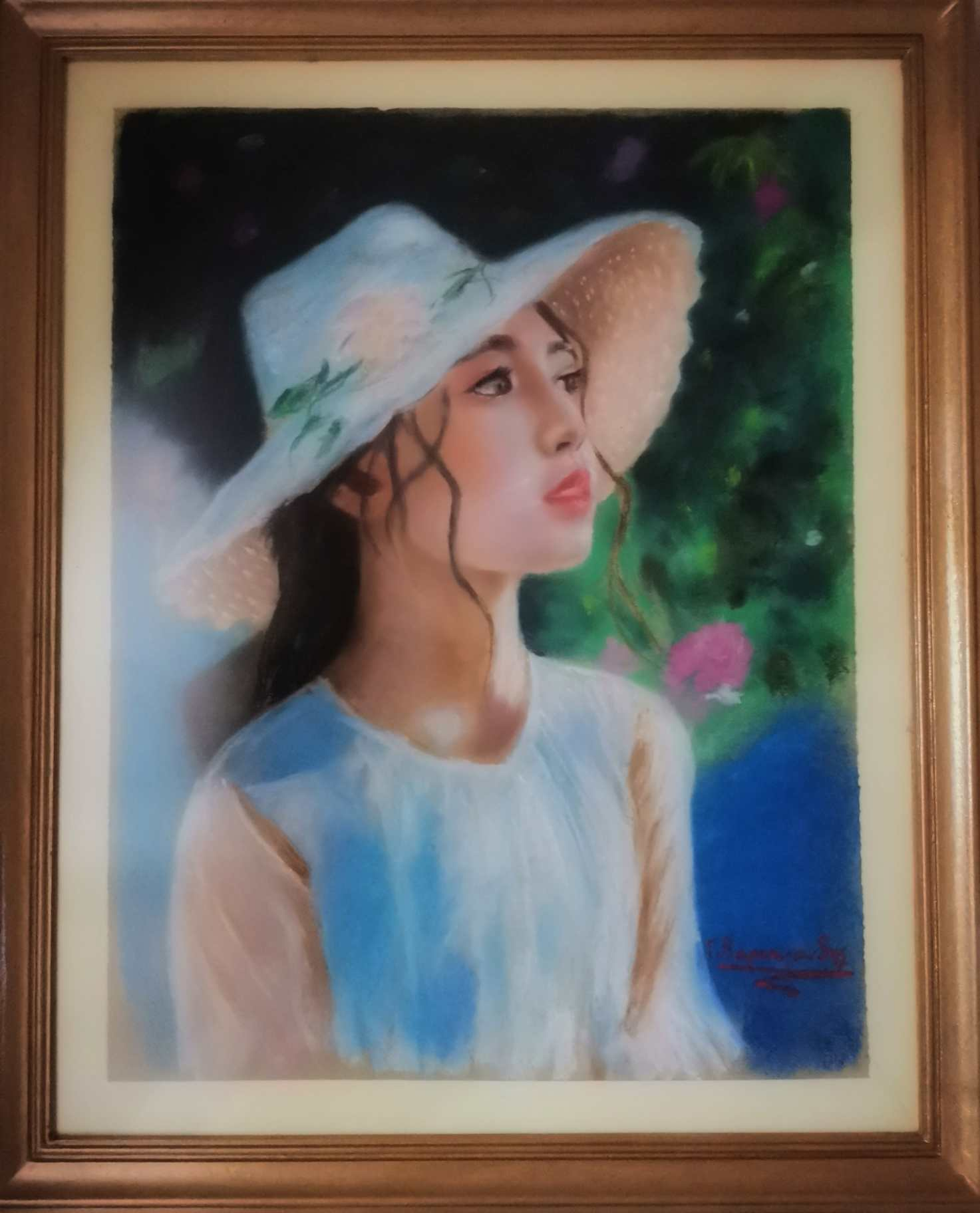 custom portrait painting commission from photo of a woman (framed) by an artist