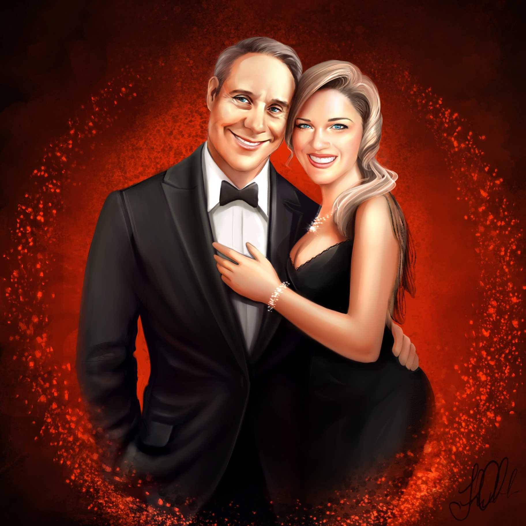 custom digital portrait painting commission from photo of a couple by an artist