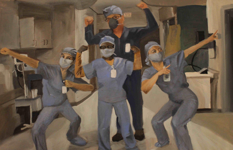 custom portrait painting of 5 doctors and nurses by artist