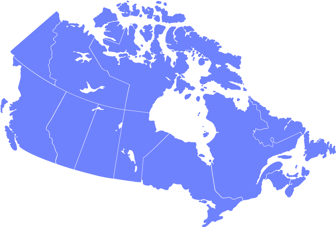 Cornflowerblue map of Canada highlighted