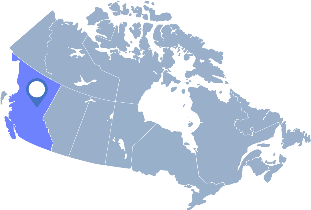 Cornflowerblue map of Canada with British Columbia highlighted