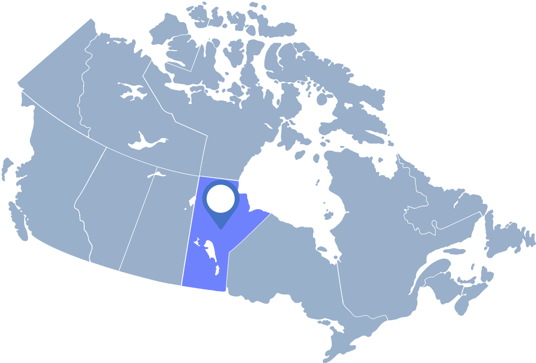 Cornflowerblue map of Canada with Manitoba highlighted