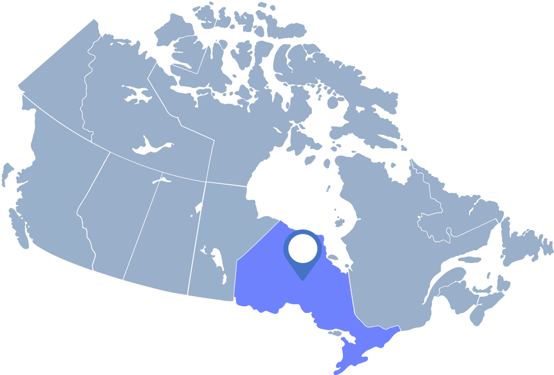 Cornflowerblue map of Canada with Ontario highlighted