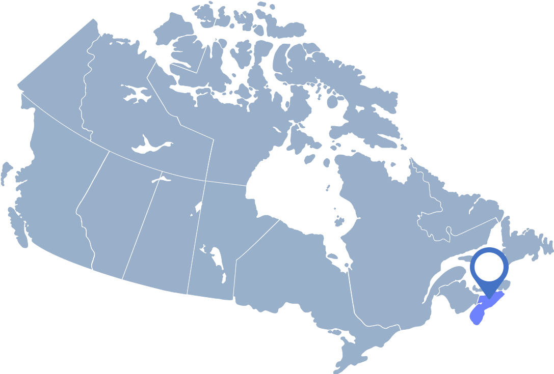Cornflowerblue map of Canada with Nova Scotia highlighted