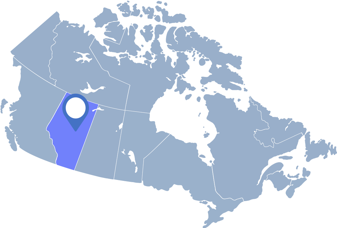 Cornflowerblue map of Canada with Alberta highlighted