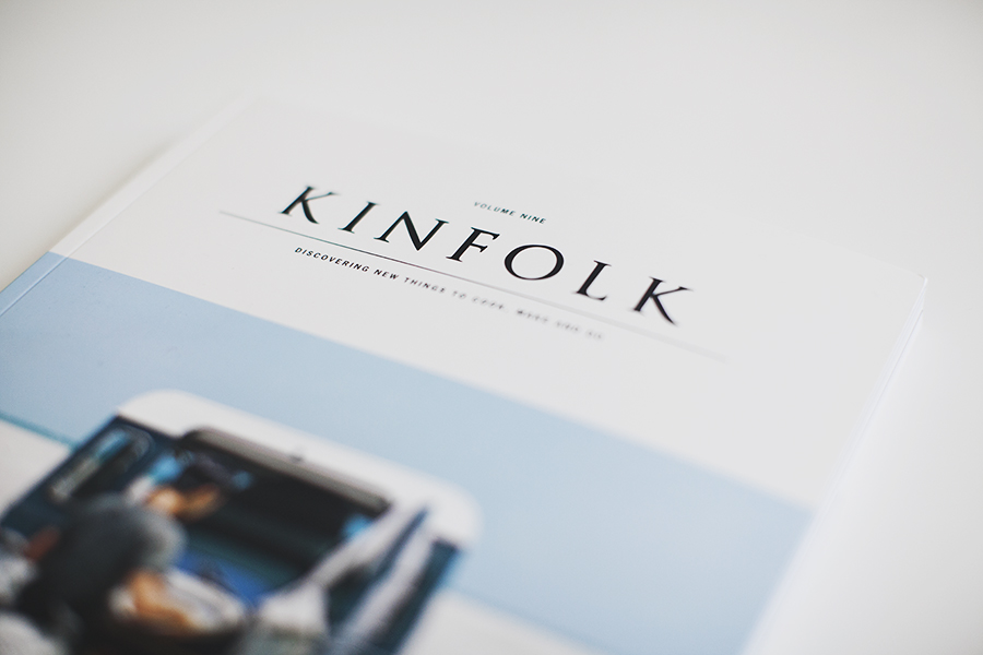 Cover of Kinfolk laying on a white table
