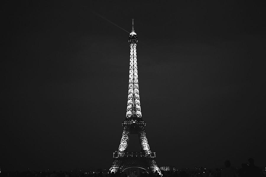 The Eiffel Tower in the dark