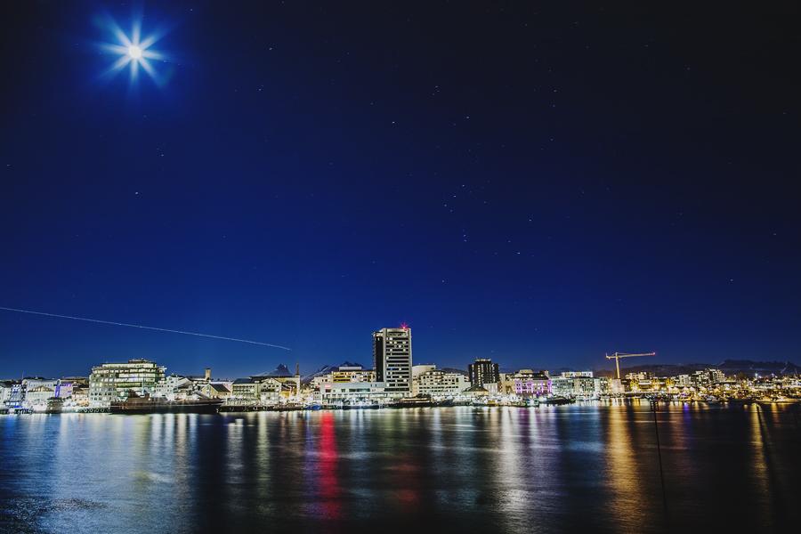 Moon shining over Bodø city