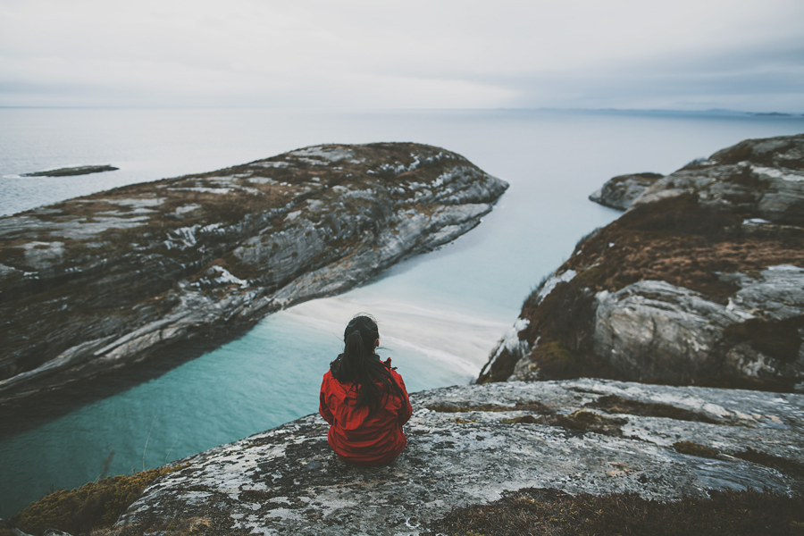 Girl in red jacket at Hovdsundet
