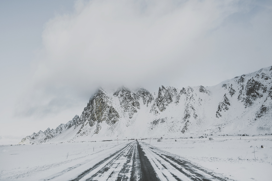 Snow covered mountains in Andøya