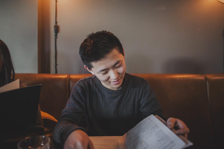 Boy at a restaurant