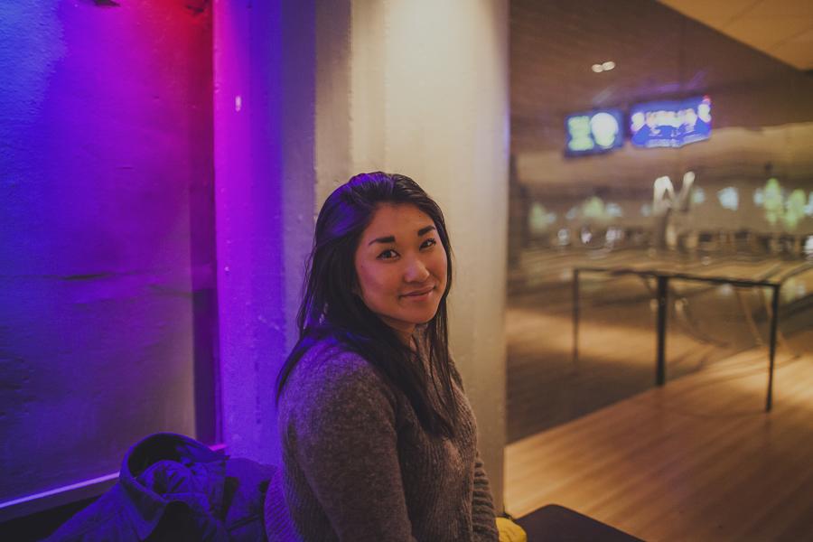 Girl at a bowling hall
