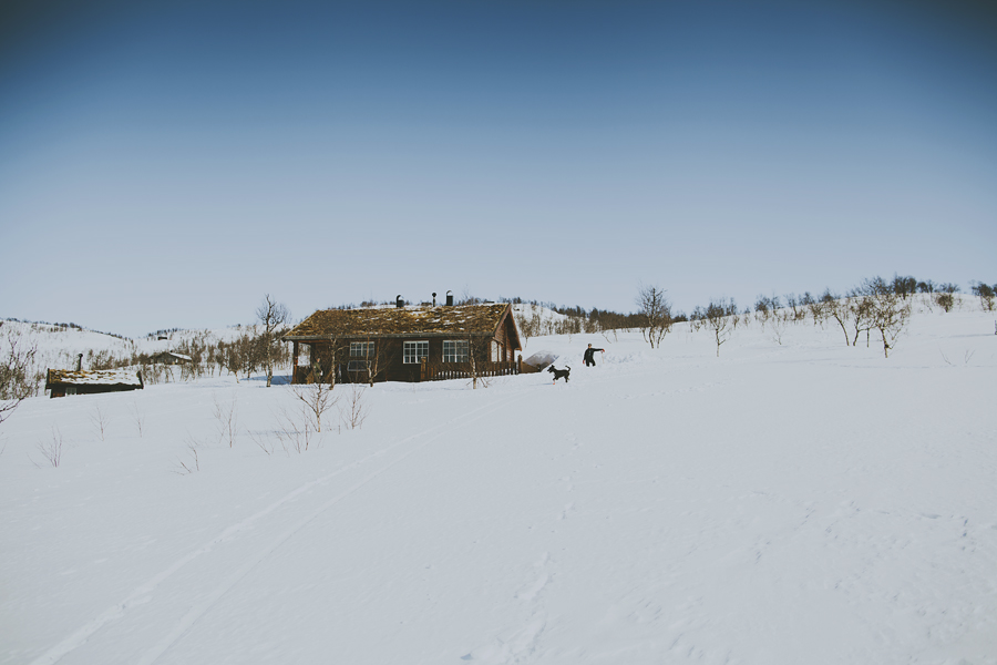 Cabin in the mountains covered in snow
