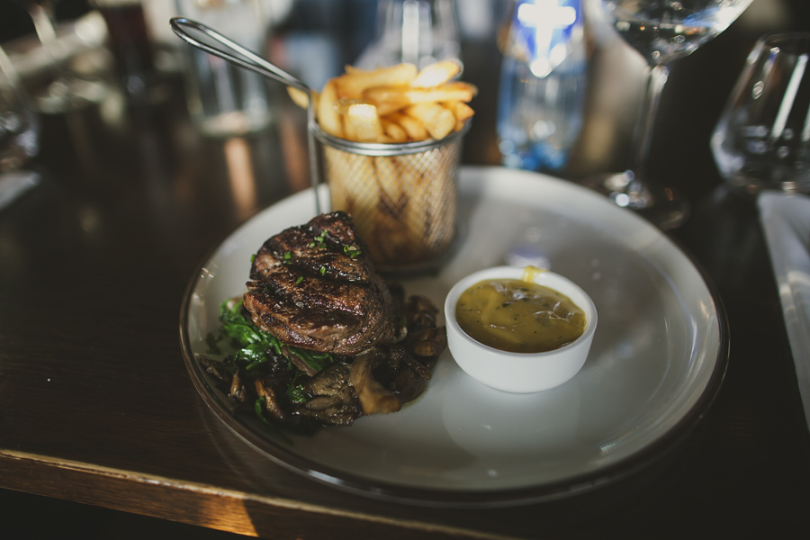 Beef and fries on a plate