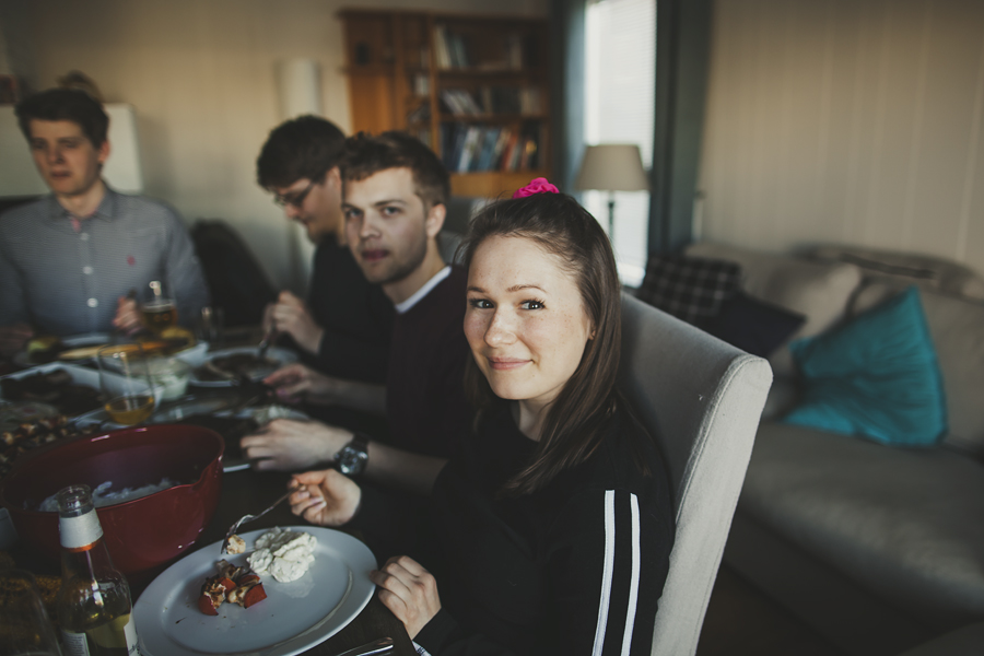 Girl at a dinner party