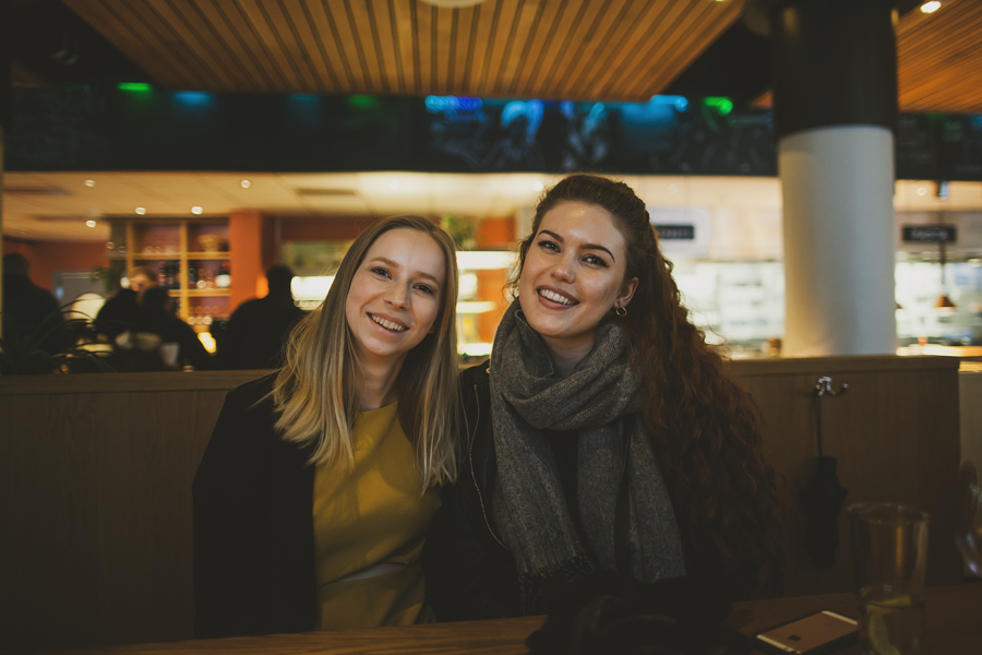 Two girls at a restaurant