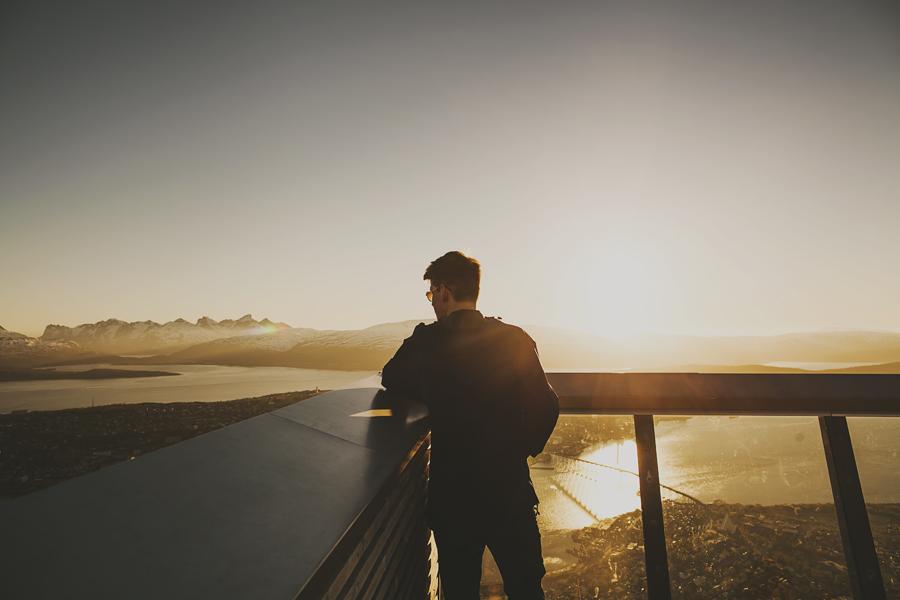 Boy enjoying the midnight sun