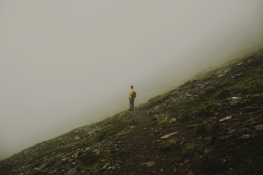 Girl looking into the fog