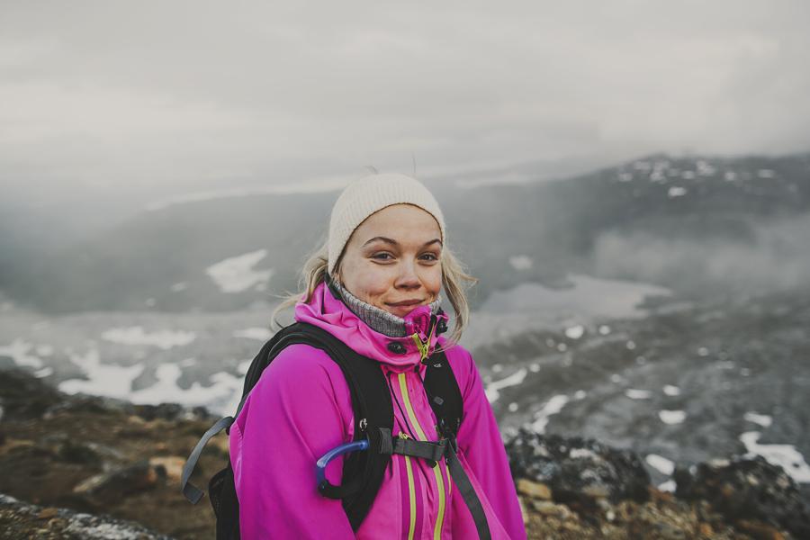 Girl hiking on a mountain