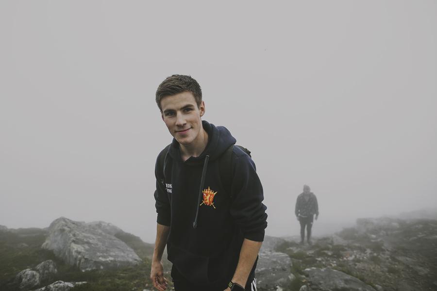 Boys walking in fog