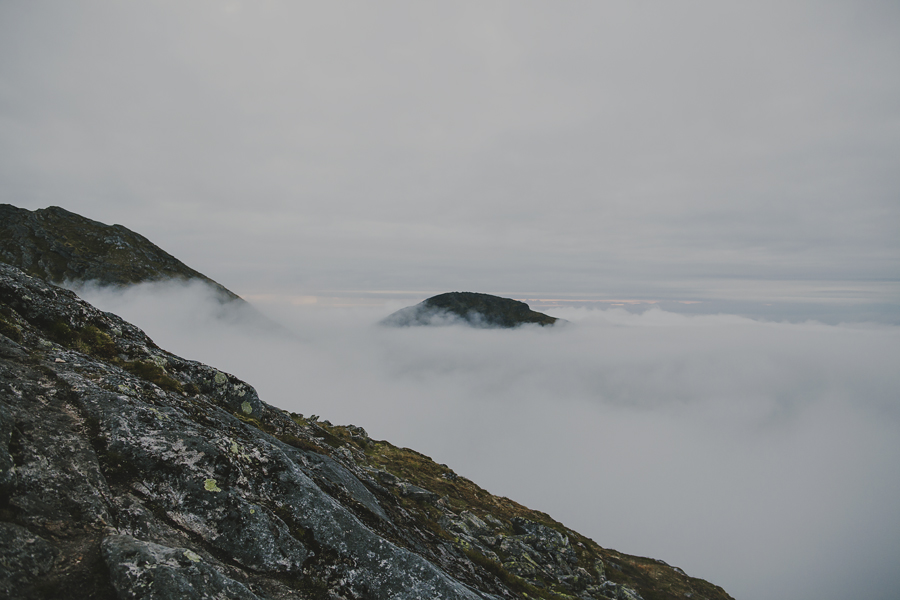 Fog hiding the mountains
