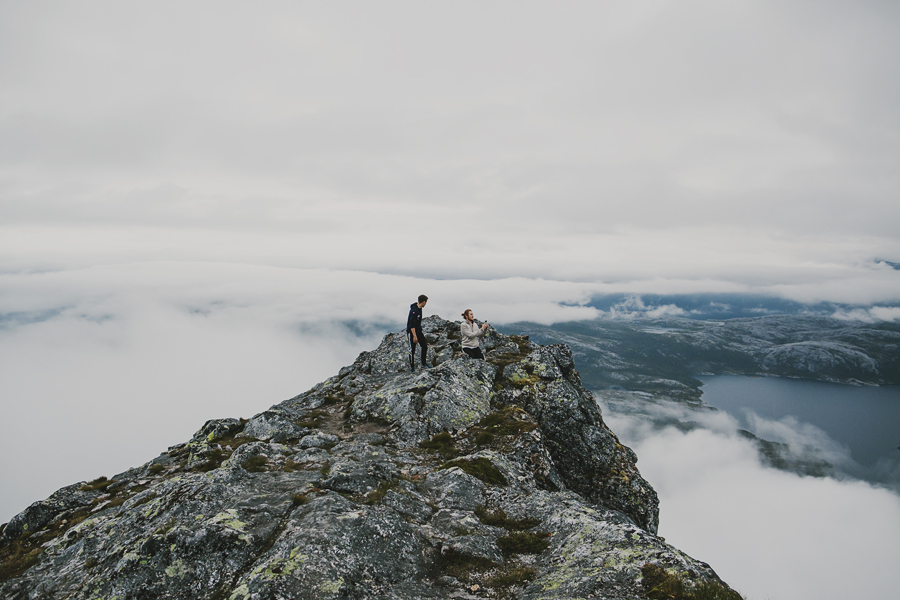 Two boys on the top of a mountain