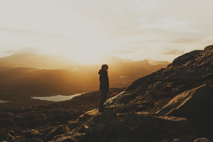 Girl on a sunset hike