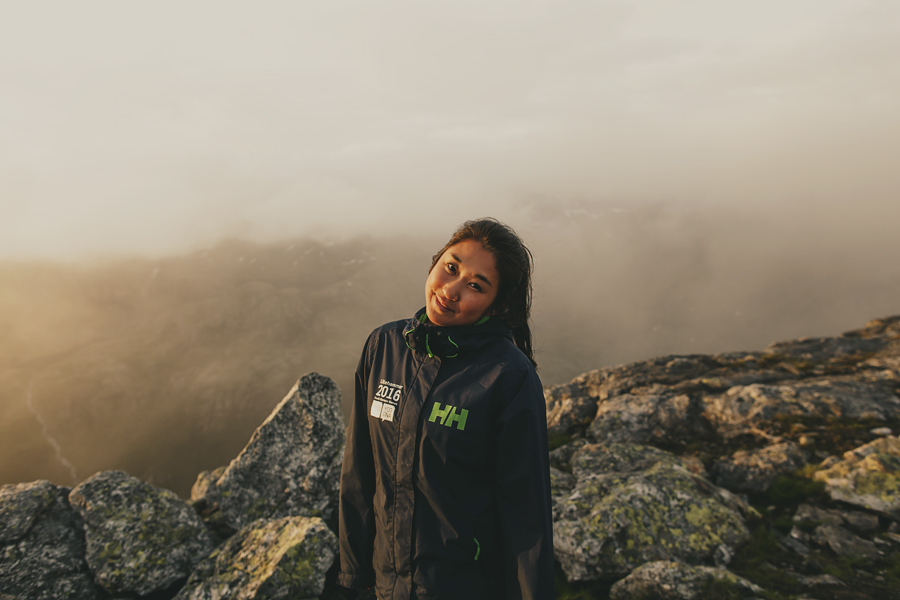 Girl smiling on a hike