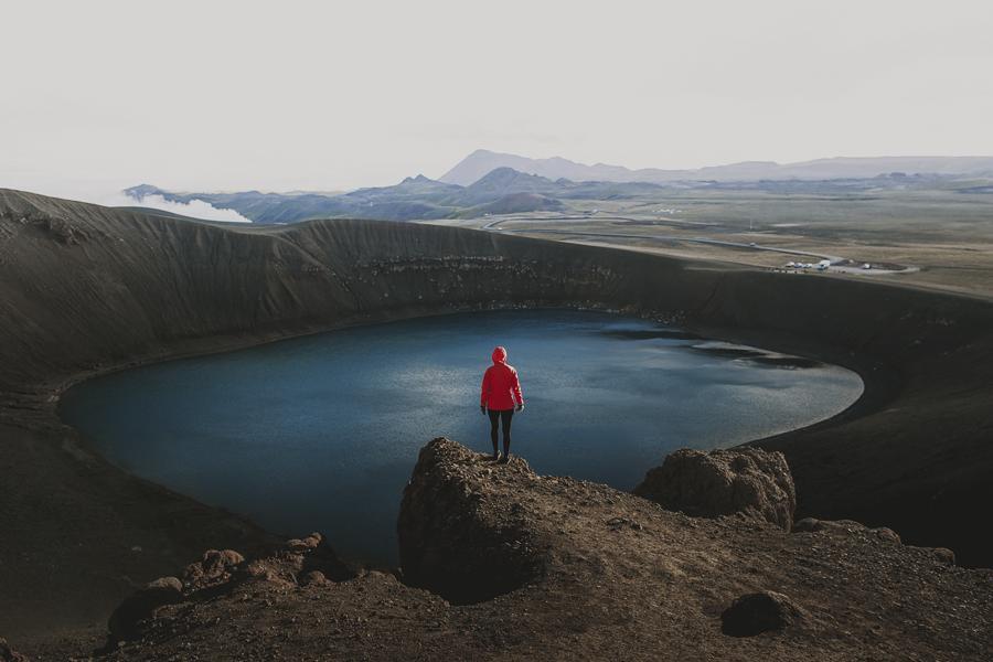 Girl standing in a vulcano