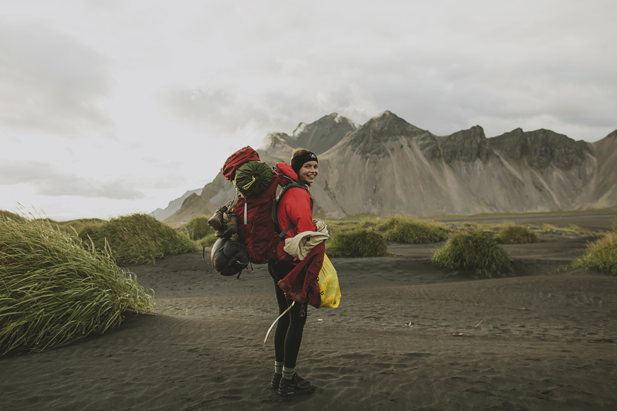 Girl camping in Iceland