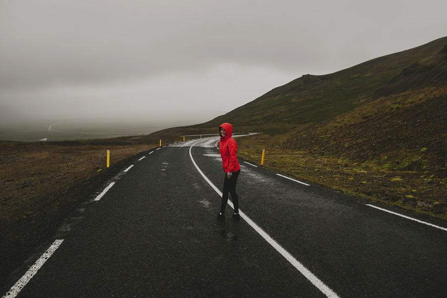 Girl on the roadway