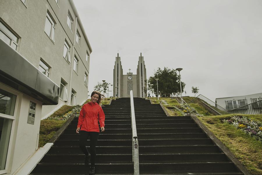 Girl walking down the stair of Akureyri
