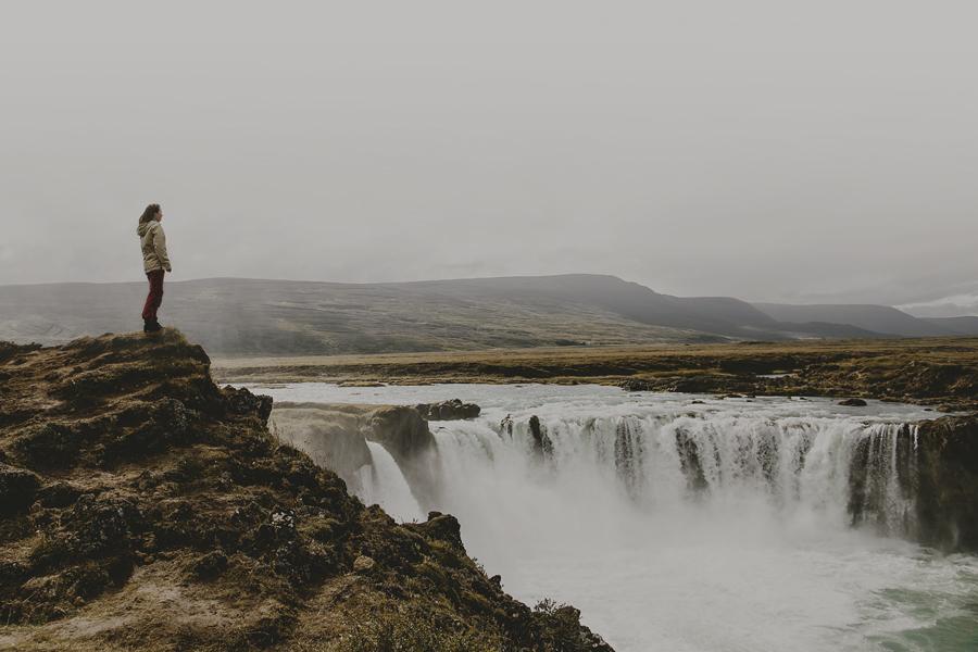 Girl looking at Goðafoss