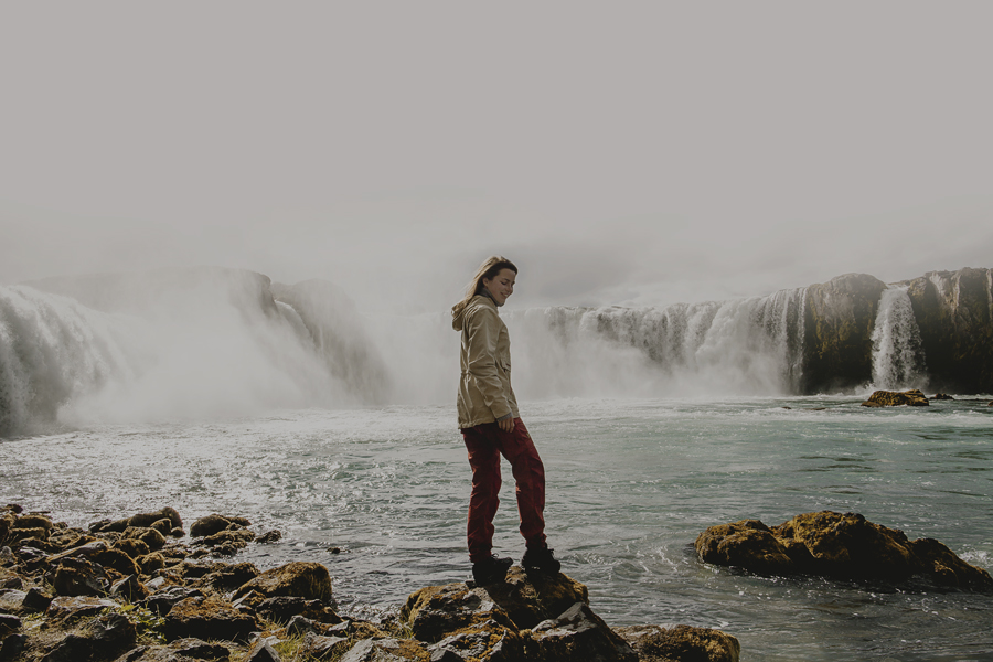 Girl in front of Goðafoss