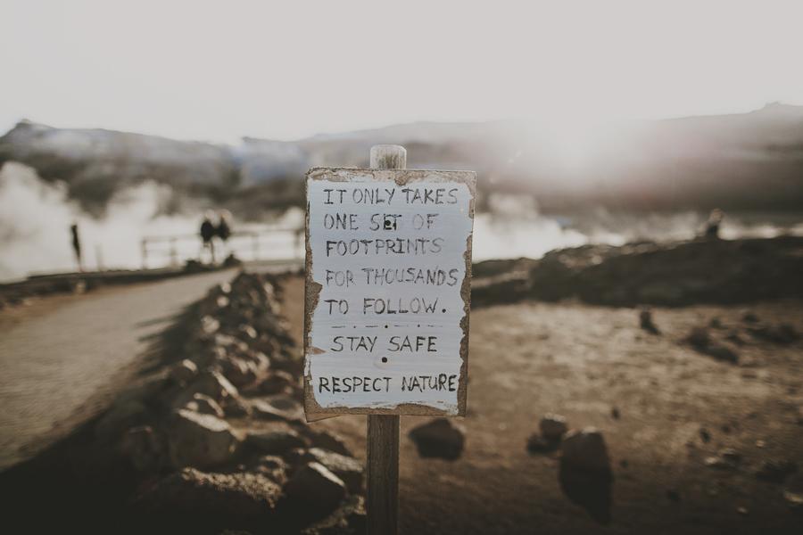 Sign in a vulcano