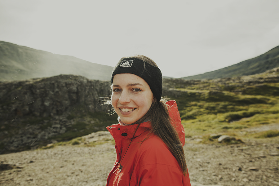 Girl smiling in Iceland