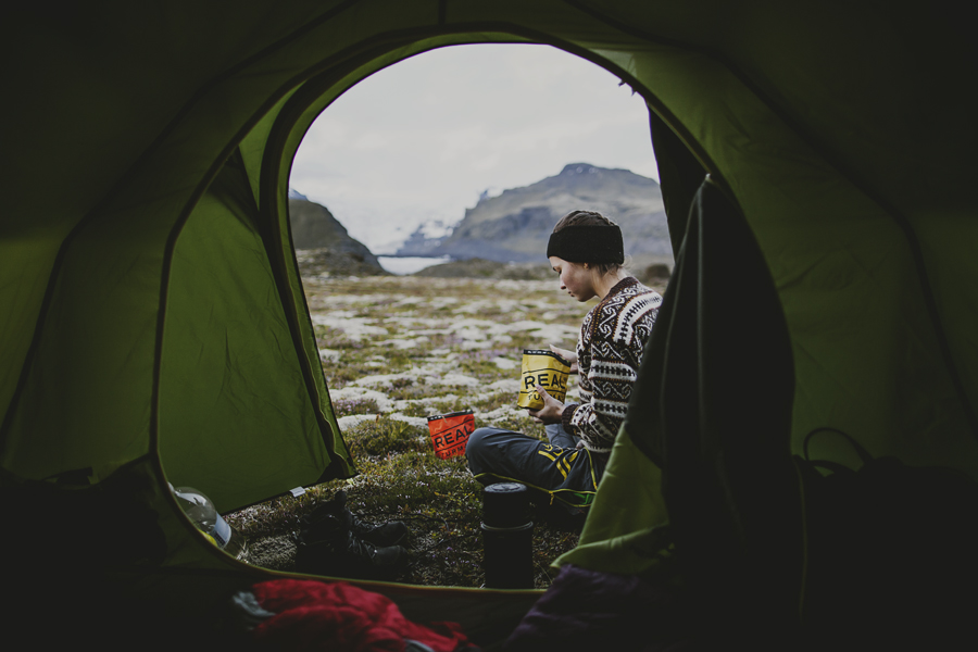 Camping and eating in Iceland